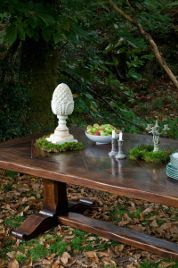table champetre- forest table with parquet top