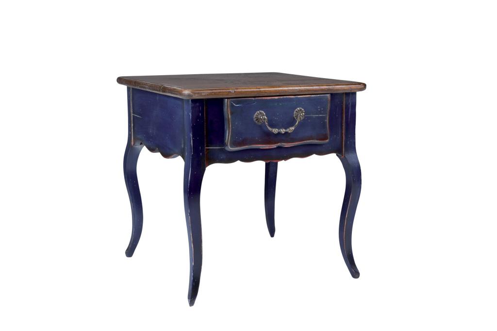 bout de canapé bleu- blue side table