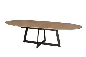 Table Ovale dessus bois et pied métal